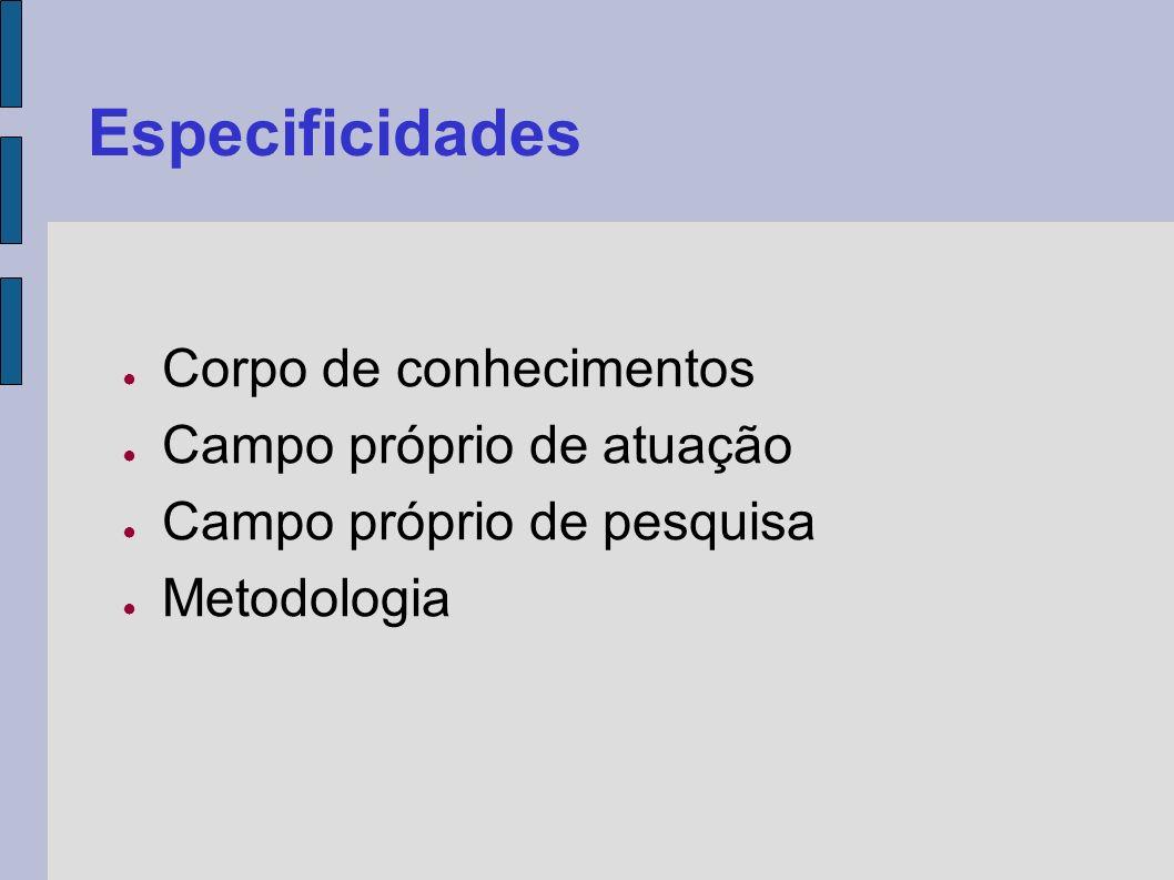 Especificidades Corpo de conhecimentos Campo próprio de atuação Campo próprio de pesquisa Metodologia