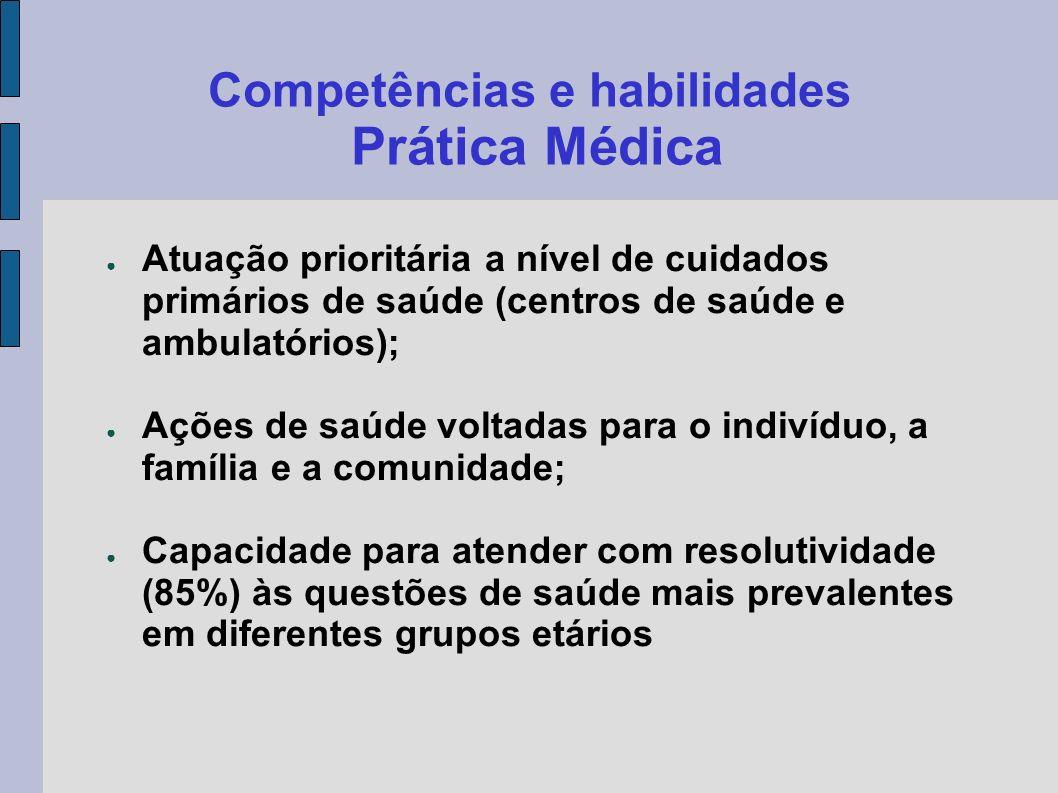 Competências e habilidades Prática Médica Atuação prioritária a nível de cuidados primários de saúde (centros de saúde e ambulatórios); Ações de saúde