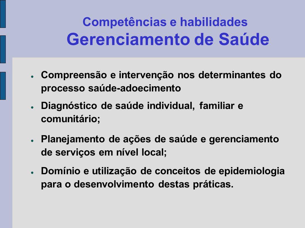Competências e habilidades Gerenciamento de Saúde Compreensão e intervenção nos determinantes do processo saúde-adoecimento Diagnóstico de saúde indiv