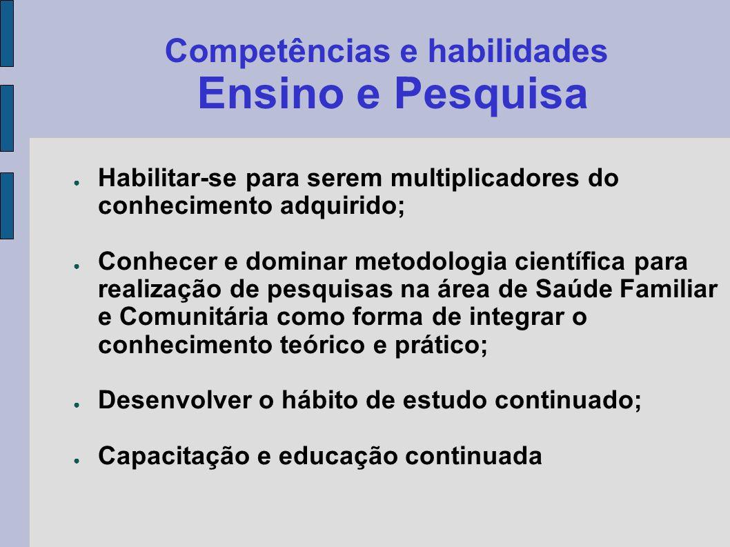 Competências e habilidades Ensino e Pesquisa Habilitar-se para serem multiplicadores do conhecimento adquirido; Conhecer e dominar metodologia científ