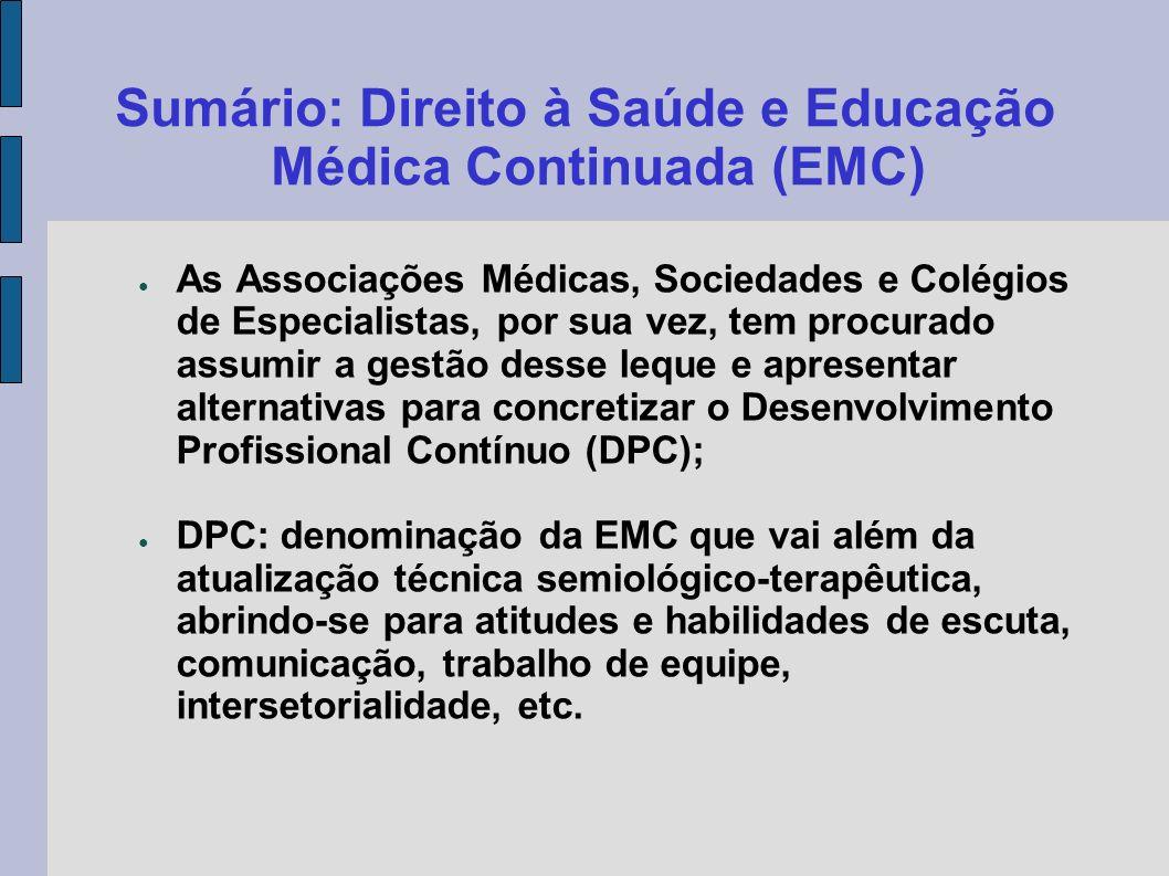 Sumário: Direito à Saúde e Educação Médica Continuada (EMC) As Associações Médicas, Sociedades e Colégios de Especialistas, por sua vez, tem procurado