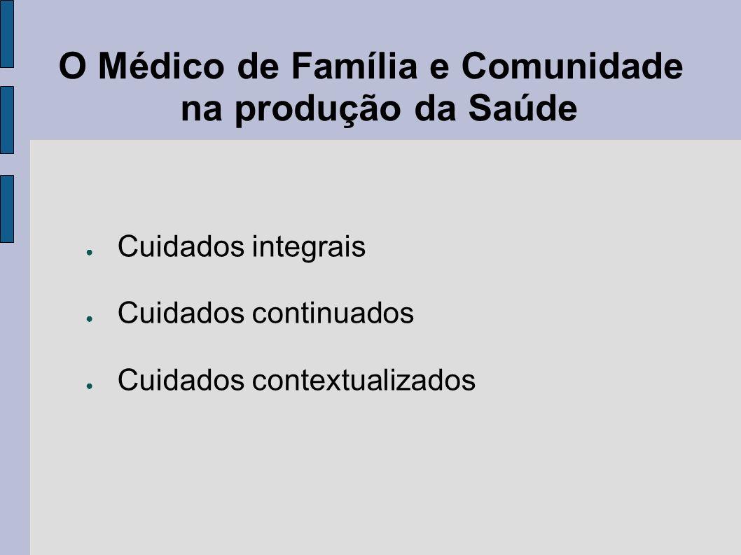 O Médico de Família e Comunidade na produção da Saúde Cuidados integrais Cuidados continuados Cuidados contextualizados