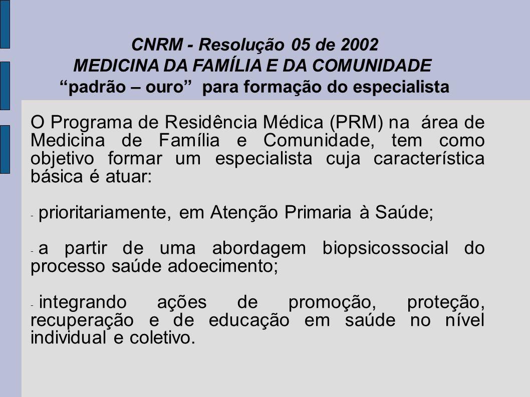 O Programa de Residência Médica (PRM) na área de Medicina de Família e Comunidade, tem como objetivo formar um especialista cuja característica básica