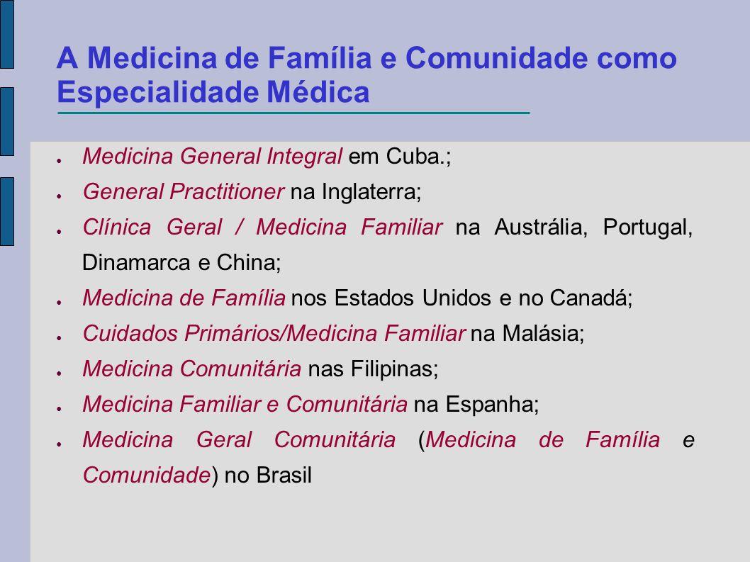 A Medicina de Família e Comunidade como Especialidade Médica Medicina General Integral em Cuba.; General Practitioner na Inglaterra; Clínica Geral / M