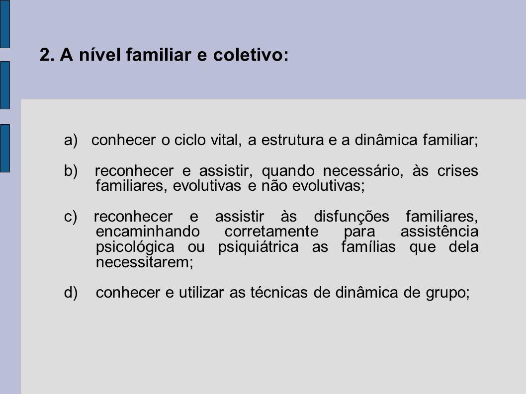2. A nível familiar e coletivo: a) conhecer o ciclo vital, a estrutura e a dinâmica familiar; b) reconhecer e assistir, quando necessário, às crises f