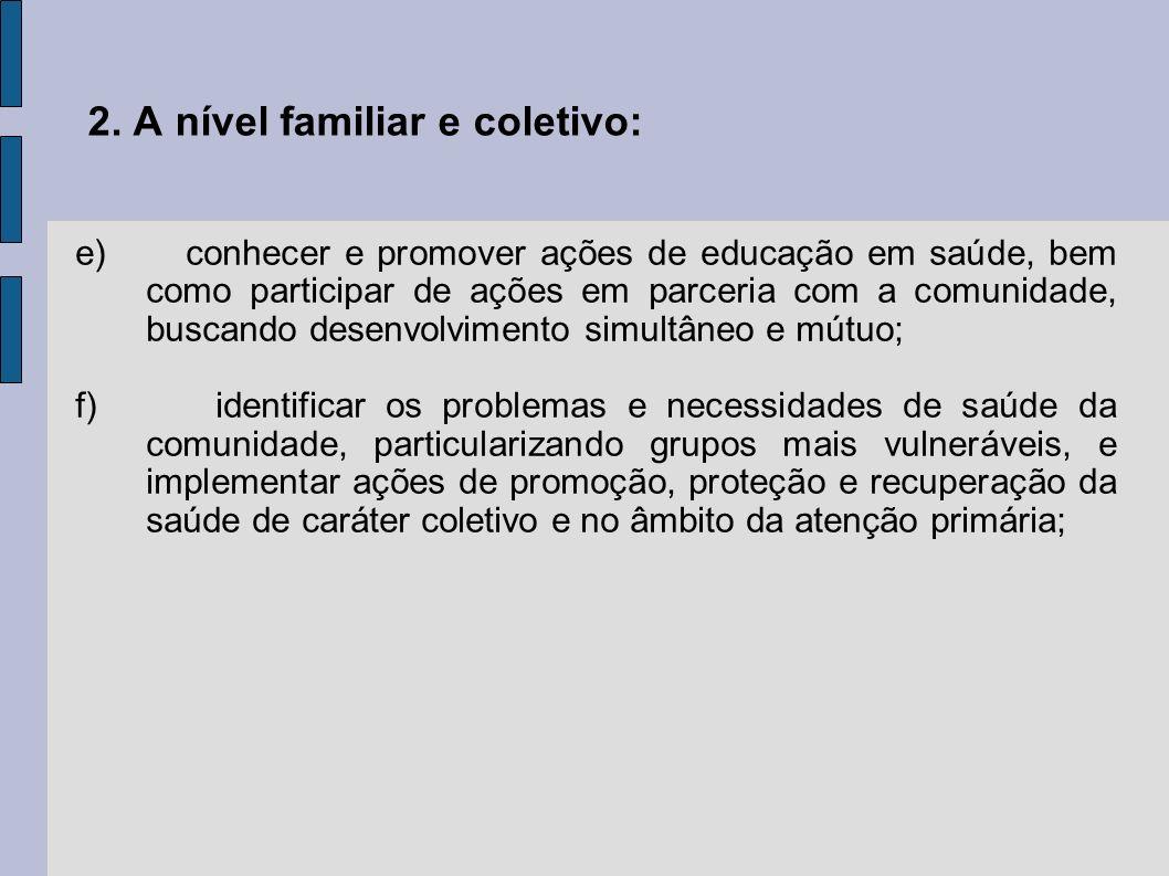 2. A nível familiar e coletivo: e) conhecer e promover ações de educação em saúde, bem como participar de ações em parceria com a comunidade, buscando