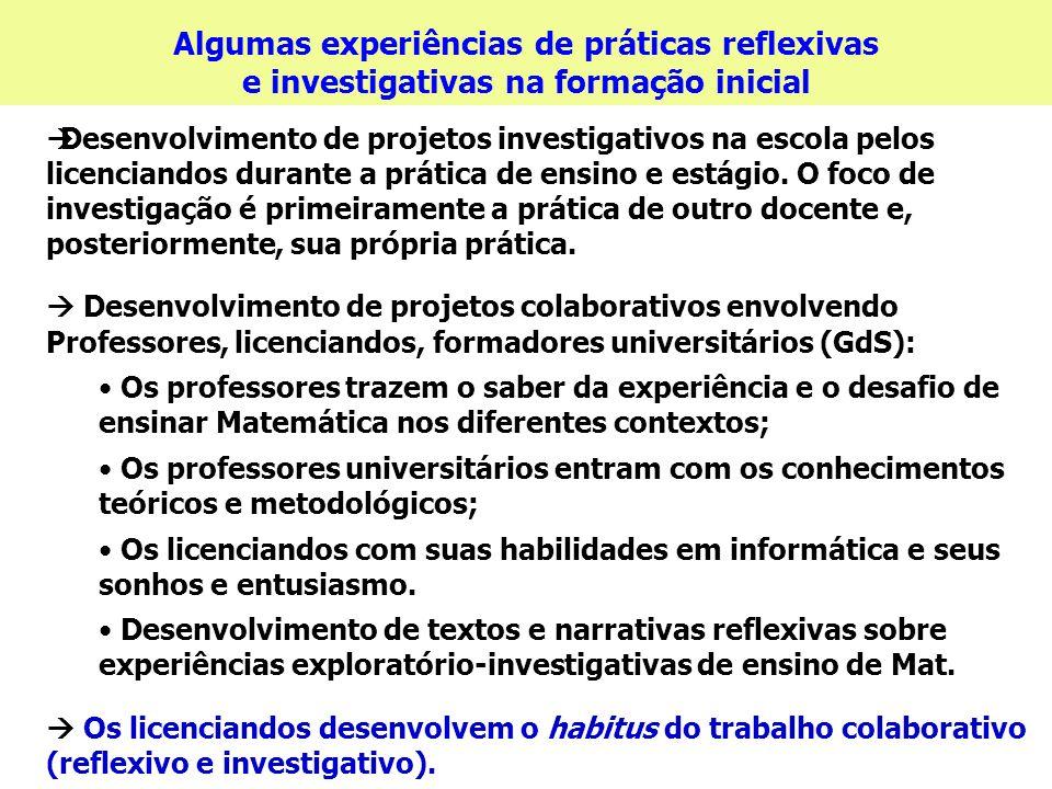 Algumas experiências de práticas reflexivas e investigativas na formação inicial Desenvolvimento de projetos investigativos na escola pelos licenciand