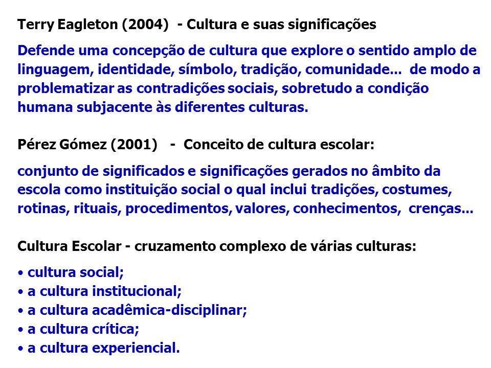Terry Eagleton (2004) - Cultura e suas significações Defende uma concepção de cultura que explore o sentido amplo de linguagem, identidade, símbolo, t