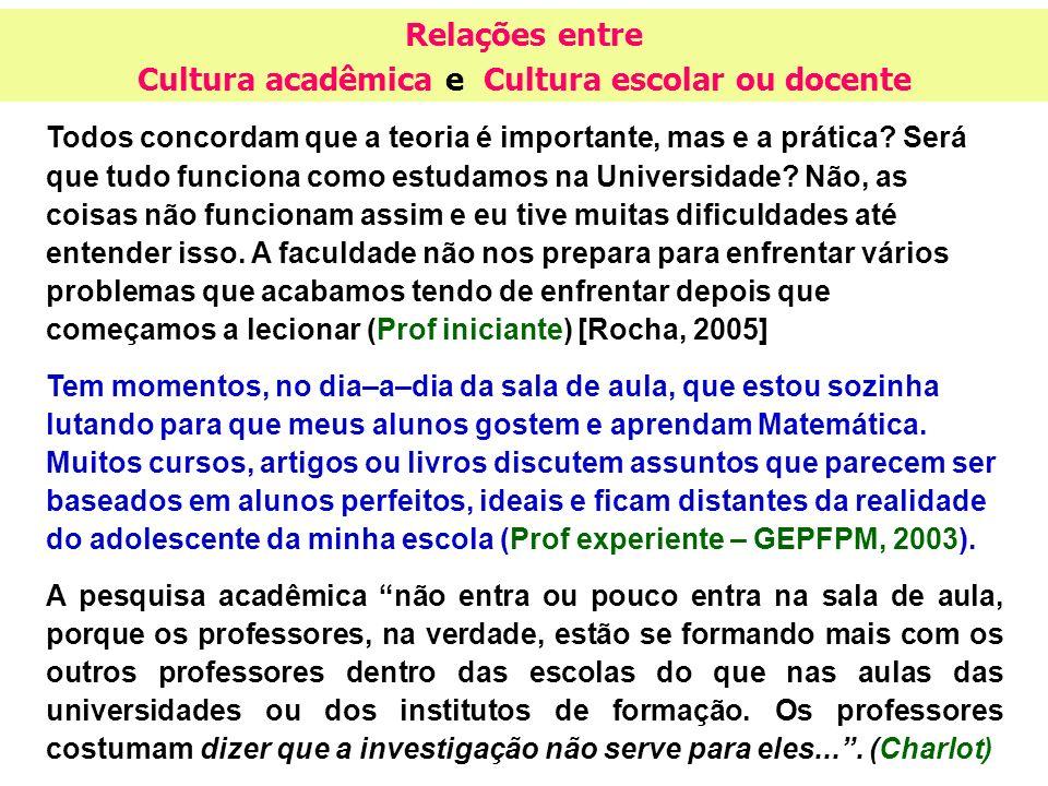 Relações entre Cultura acadêmica e Cultura escolar ou docente Todos concordam que a teoria é importante, mas e a prática? Será que tudo funciona como