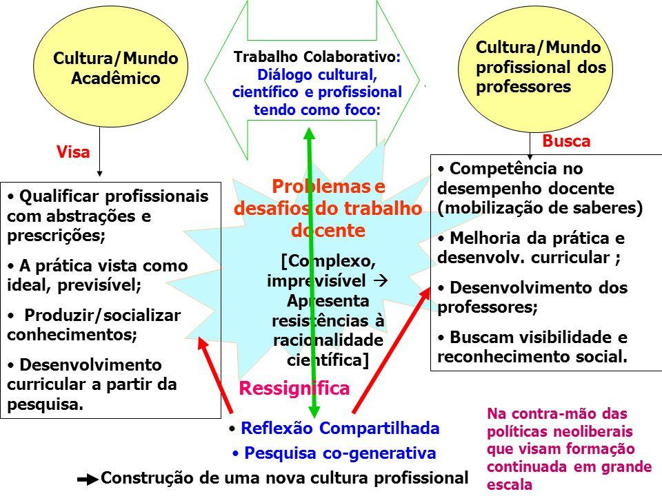 Coloconização X Endogenia Quem tem a solução? Cultura/Mundo Acadêmico Cultura/Mundo profissional dos professores Problemas e desafios do trabalho doce