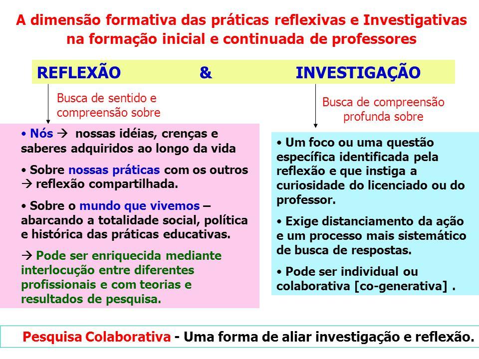 Algumas experiências de práticas reflexivas e investigativas na formação inicial Desenvolvimento de projetos investigativos na escola pelos licenciandos durante a prática de ensino e estágio.