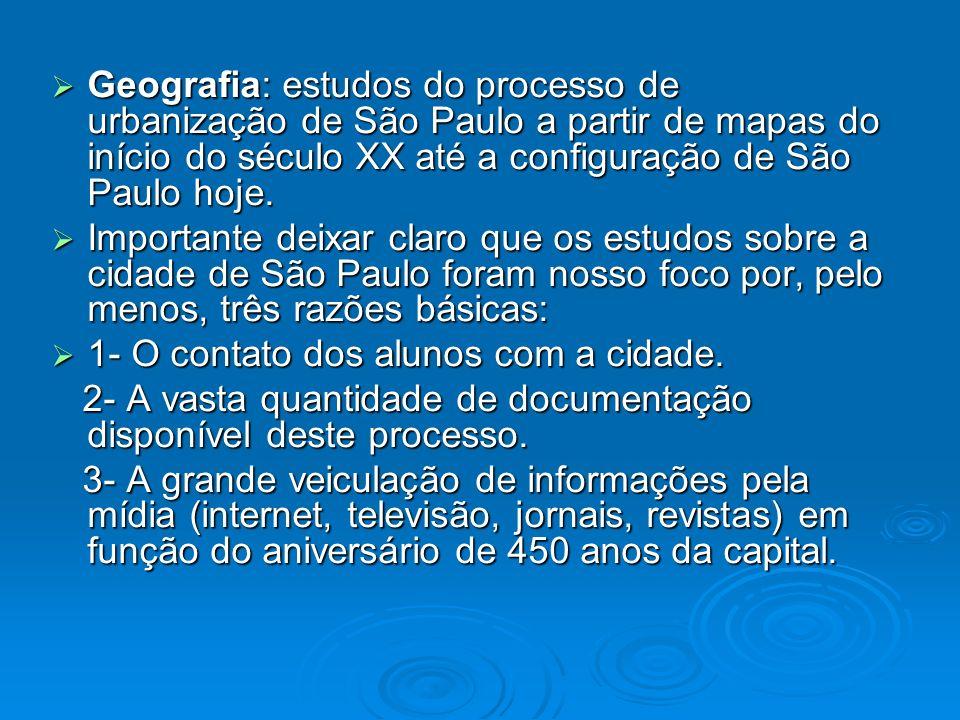 Geografia: estudos do processo de urbanização de São Paulo a partir de mapas do início do século XX até a configuração de São Paulo hoje. Geografia: e