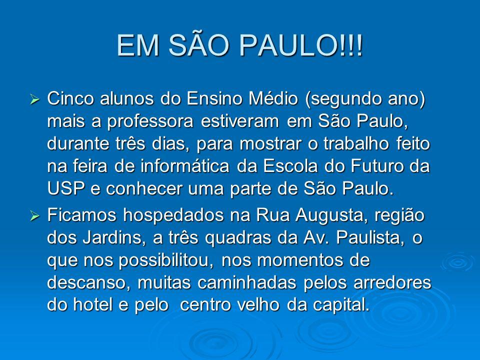 EM SÃO PAULO!!! Cinco alunos do Ensino Médio (segundo ano) mais a professora estiveram em São Paulo, durante três dias, para mostrar o trabalho feito