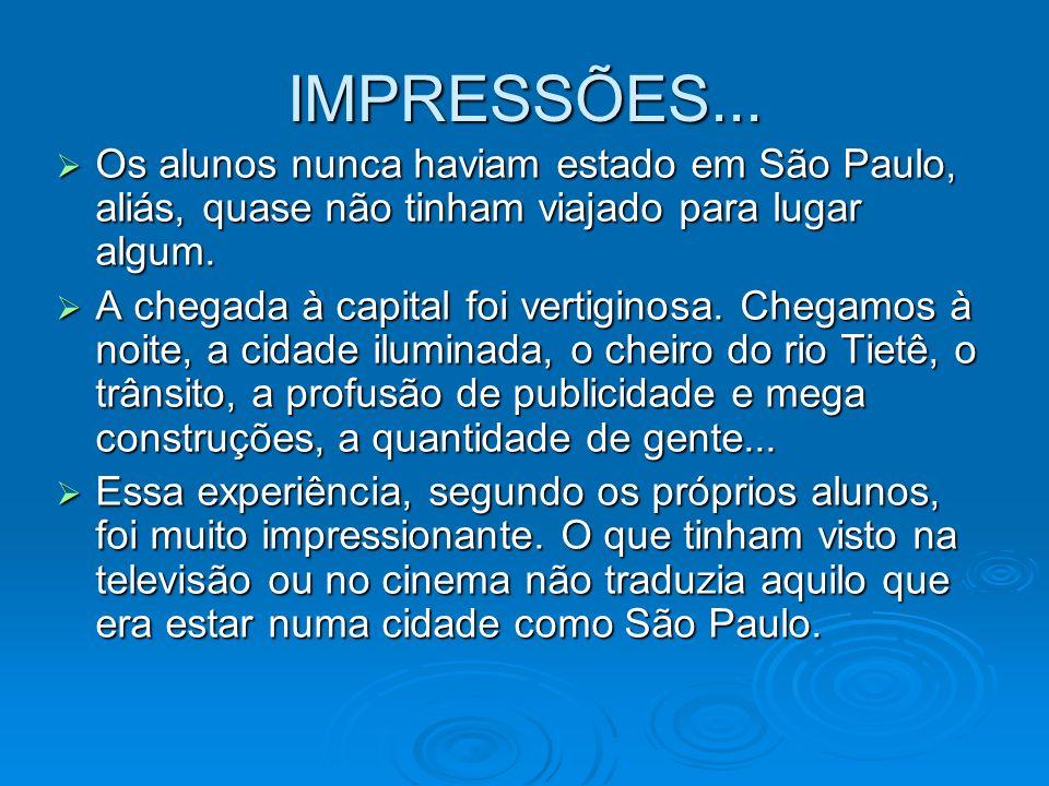 IMPRESSÕES... Os alunos nunca haviam estado em São Paulo, aliás, quase não tinham viajado para lugar algum. Os alunos nunca haviam estado em São Paulo