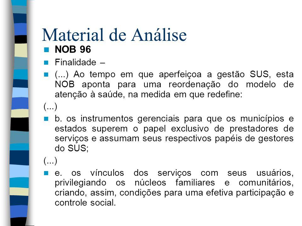 Material de Análise NOB 96 Finalidade – (...) Ao tempo em que aperfeiçoa a gestão SUS, esta NOB aponta para uma reordenação do modelo de atenção à saú