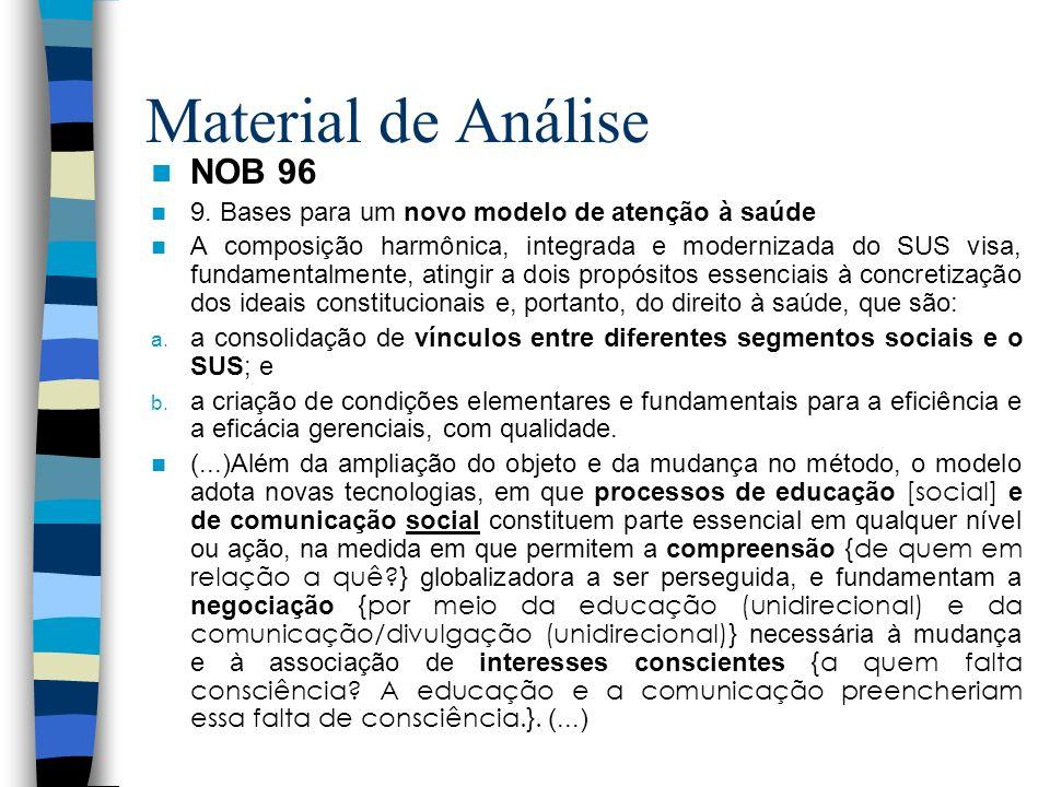 Material de Análise NOB 96 9. Bases para um novo modelo de atenção à saúde A composição harmônica, integrada e modernizada do SUS visa, fundamentalmen