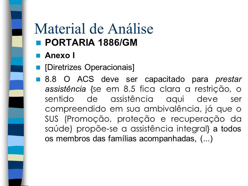Material de Análise PORTARIA 1886/GM Anexo I [Diretrizes Operacionais] 8.8 O ACS deve ser capacitado para prestar assistência {se em 8.5 fica clara a