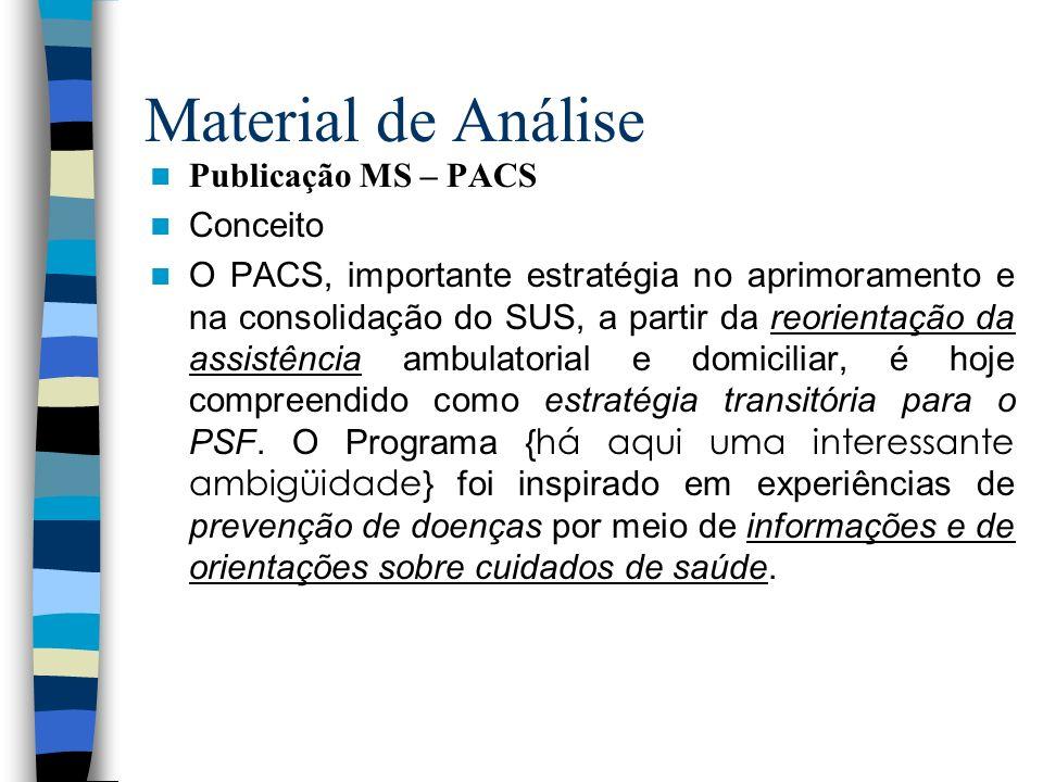 Material de Análise Publicação MS – PACS Conceito O PACS, importante estratégia no aprimoramento e na consolidação do SUS, a partir da reorientação da