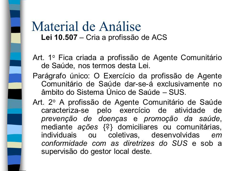 Material de Análise Lei 10.507 – Cria a profissão de ACS Art. 1 o Fica criada a profissão de Agente Comunitário de Saúde, nos termos desta Lei. Parágr