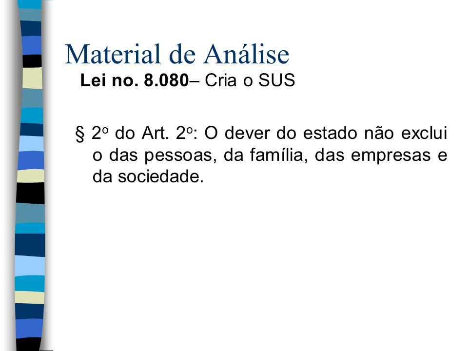 Material de Análise Lei no. 8.080– Cria o SUS § 2 o do Art. 2 o : O dever do estado não exclui o das pessoas, da família, das empresas e da sociedade.