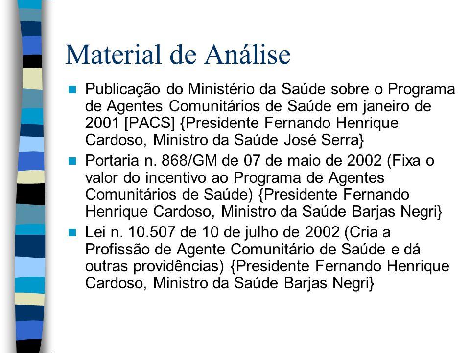 Material de Análise Publicação do Ministério da Saúde sobre o Programa de Agentes Comunitários de Saúde em janeiro de 2001 [PACS] {Presidente Fernando