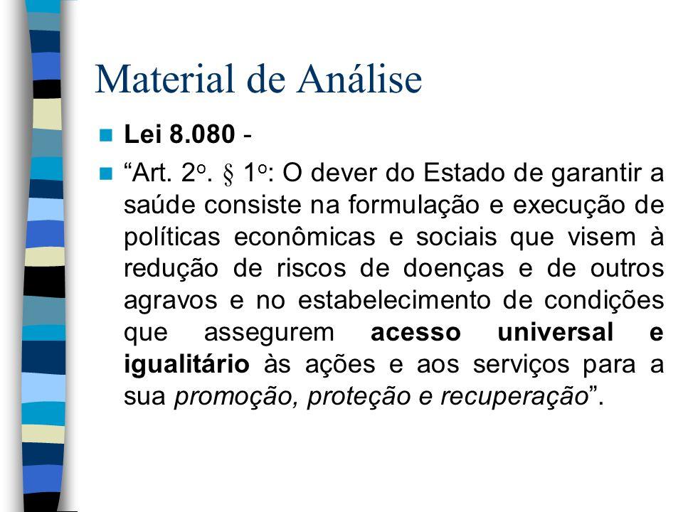 Material de Análise Lei 8.080 - Art. 2 o. § 1 o : O dever do Estado de garantir a saúde consiste na formulação e execução de políticas econômicas e so