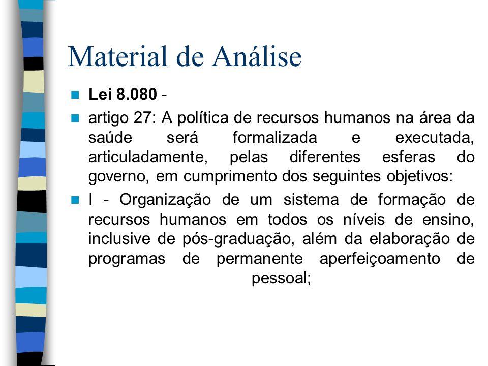 Material de Análise Lei 8.080 - artigo 27: A política de recursos humanos na área da saúde será formalizada e executada, articuladamente, pelas difere