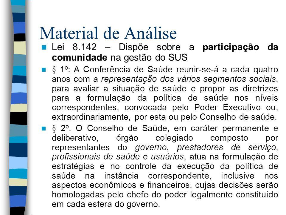 Material de Análise Lei 8.142 – Dispõe sobre a participação da comunidade na gestão do SUS § 1 o : A Conferência de Saúde reunir-se-á a cada quatro an
