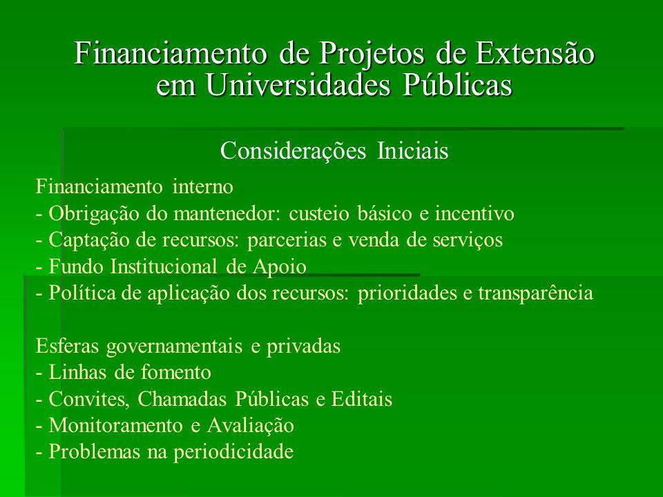 3 Ministério da Educação - SESu Programa de Apoio à Extensão Universitária- PROEXT Criado pela Secretaria de Educação Superior – SESu/MEC, em 2003, abrange programas e projetos de extensão universitária com ênfase na inclusão social.