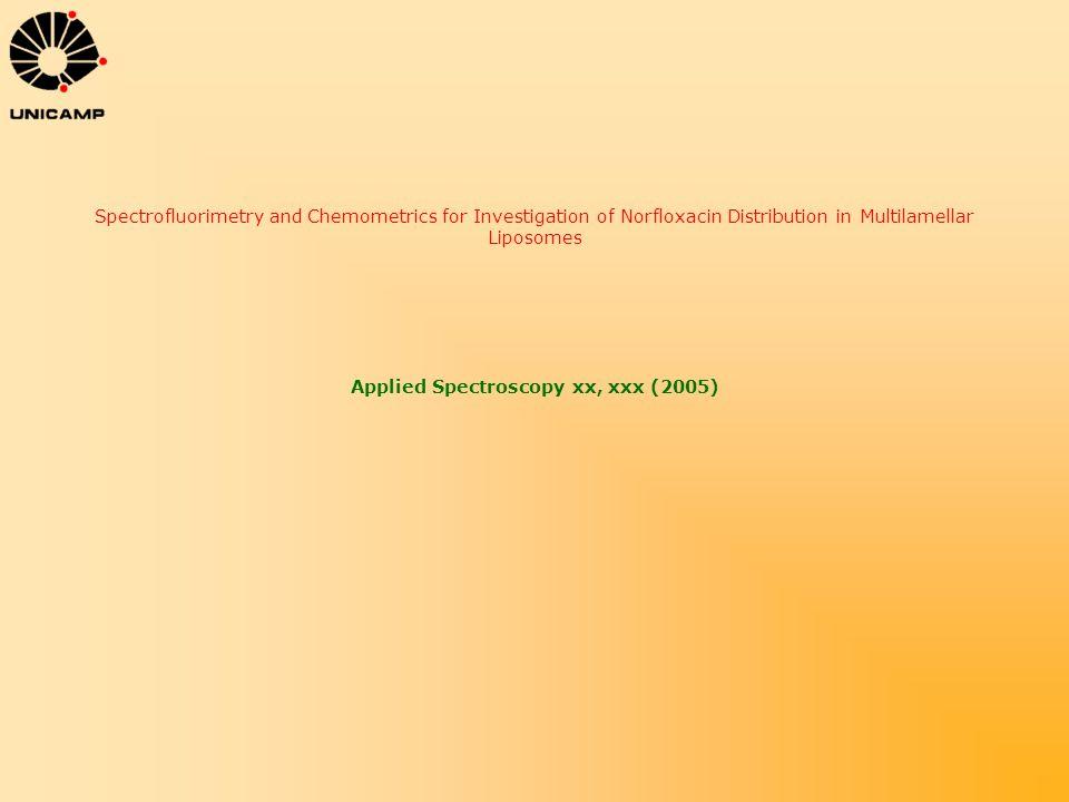 Spectrofluorimetry and Chemometrics for Investigation of Norfloxacin Distribution in Multilamellar Liposomes Applied Spectroscopy xx, xxx (2005)