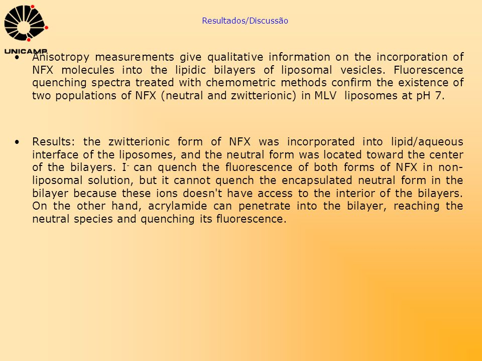 Resultados/Discussão Anisotropy measurements give qualitative information on the incorporation of NFX molecules into the lipidic bilayers of liposomal
