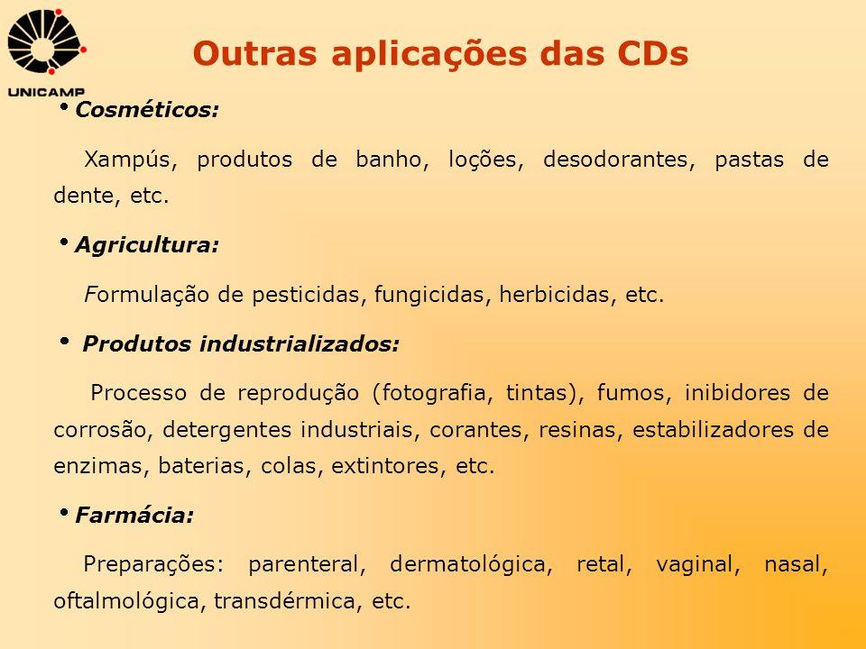 Outras aplicações das CDs Cosméticos: Xampús, produtos de banho, loções, desodorantes, pastas de dente, etc. Agricultura: Formulação de pesticidas, fu