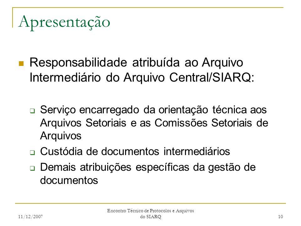 11/12/2007 Encontro Técnico de Protocolos e Arquivos do SIARQ 10 Apresentação Responsabilidade atribuída ao Arquivo Intermediário do Arquivo Central/S