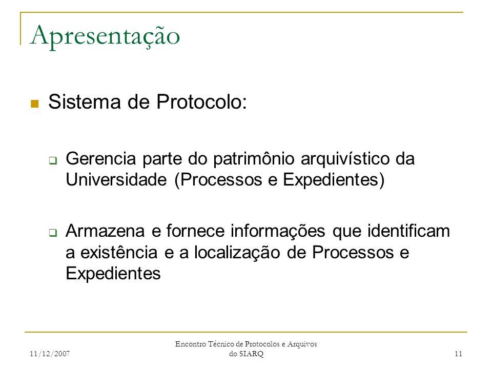 11/12/2007 Encontro Técnico de Protocolos e Arquivos do SIARQ 11 Apresentação Sistema de Protocolo: Gerencia parte do patrimônio arquivístico da Unive