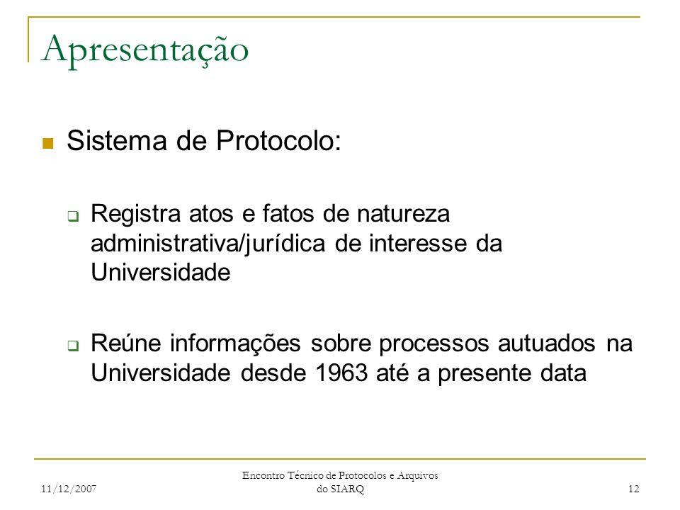 11/12/2007 Encontro Técnico de Protocolos e Arquivos do SIARQ 12 Apresentação Sistema de Protocolo: Registra atos e fatos de natureza administrativa/j
