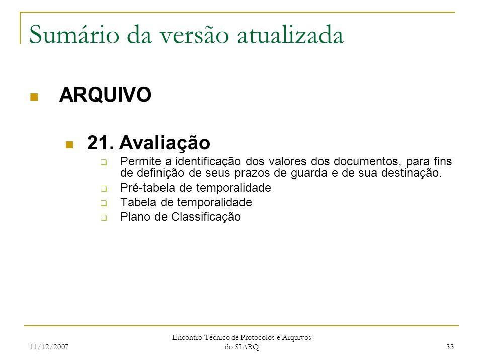 11/12/2007 Encontro Técnico de Protocolos e Arquivos do SIARQ 33 Sumário da versão atualizada ARQUIVO 21. Avaliação Permite a identificação dos valore