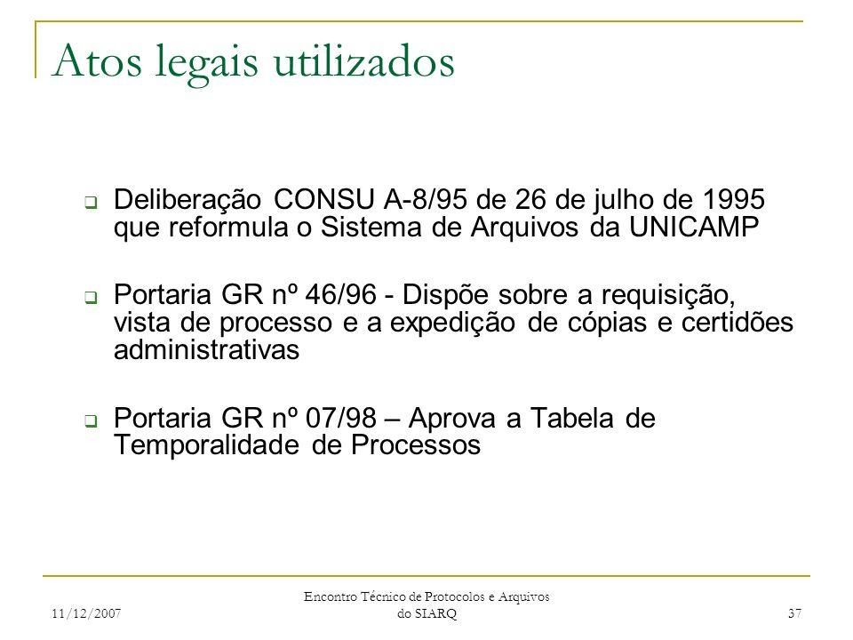 11/12/2007 Encontro Técnico de Protocolos e Arquivos do SIARQ 37 Atos legais utilizados Deliberação CONSU A-8/95 de 26 de julho de 1995 que reformula