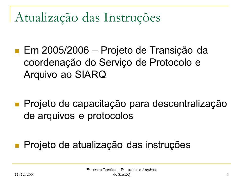 11/12/2007 Encontro Técnico de Protocolos e Arquivos do SIARQ 4 Atualização das Instruções Em 2005/2006 – Projeto de Transição da coordenação do Servi
