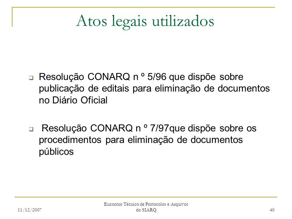 11/12/2007 Encontro Técnico de Protocolos e Arquivos do SIARQ 40 Atos legais utilizados Resolução CONARQ n º 5/96 que dispõe sobre publicação de edita