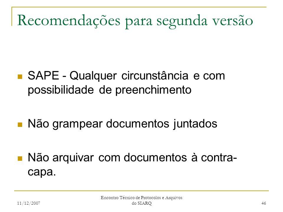 11/12/2007 Encontro Técnico de Protocolos e Arquivos do SIARQ 46 Recomendações para segunda versão SAPE - Qualquer circunstância e com possibilidade d