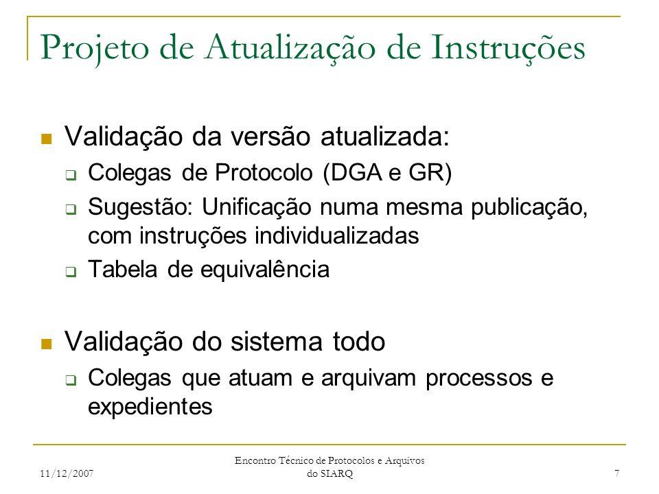 11/12/2007 Encontro Técnico de Protocolos e Arquivos do SIARQ 7 Projeto de Atualização de Instruções Validação da versão atualizada: Colegas de Protoc