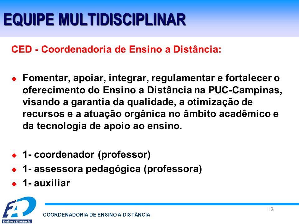 12 COORDENADORIA DE ENSINO A DISTÂNCIA EQUIPE MULTIDISCIPLINAR CED - Coordenadoria de Ensino a Distância: Fomentar, apoiar, integrar, regulamentar e f