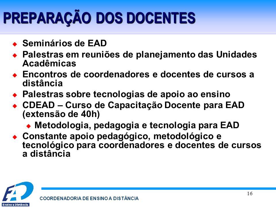 16 COORDENADORIA DE ENSINO A DISTÂNCIA PREPARAÇÃO DOS DOCENTES Seminários de EAD Palestras em reuniões de planejamento das Unidades Acadêmicas Encontr