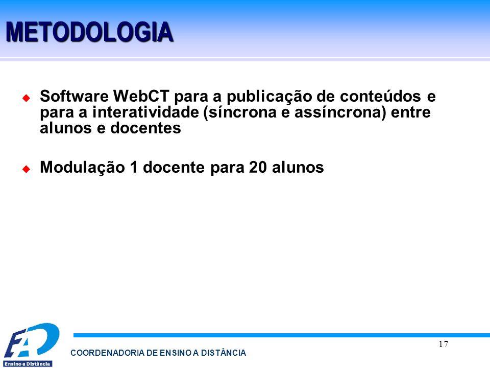 17 COORDENADORIA DE ENSINO A DISTÂNCIAMETODOLOGIA Software WebCT para a publicação de conteúdos e para a interatividade (síncrona e assíncrona) entre