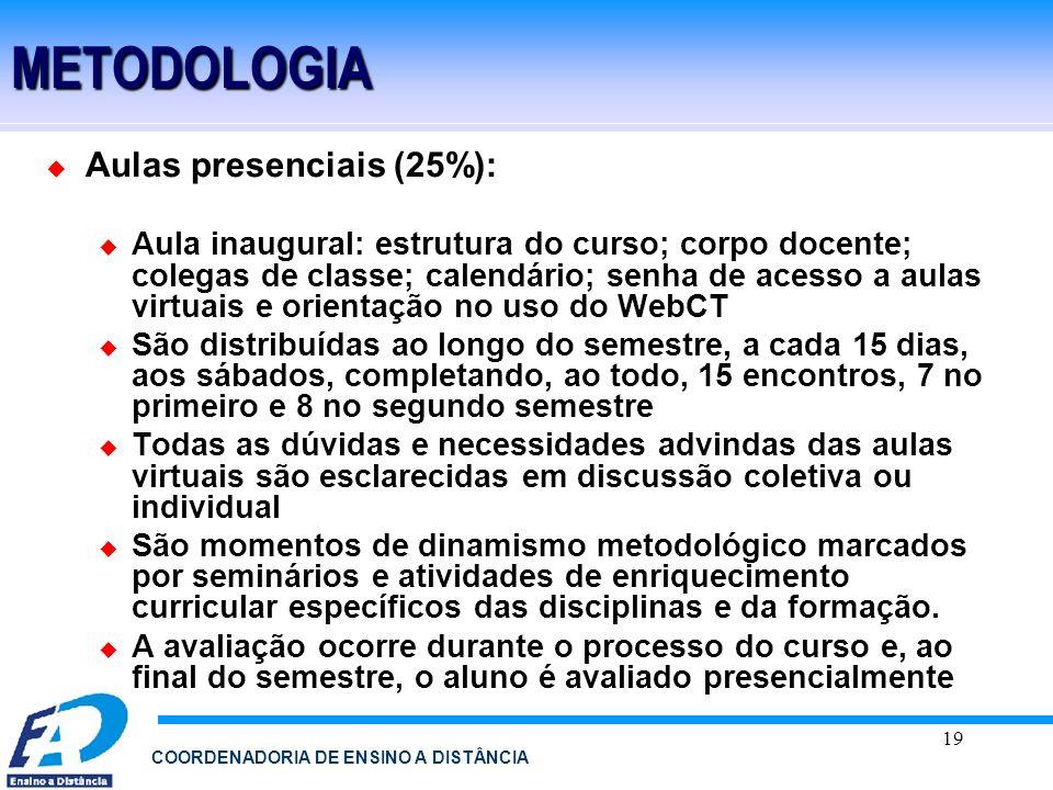 19 COORDENADORIA DE ENSINO A DISTÂNCIAMETODOLOGIA Aulas presenciais (25%): Aula inaugural: estrutura do curso; corpo docente; colegas de classe; calen