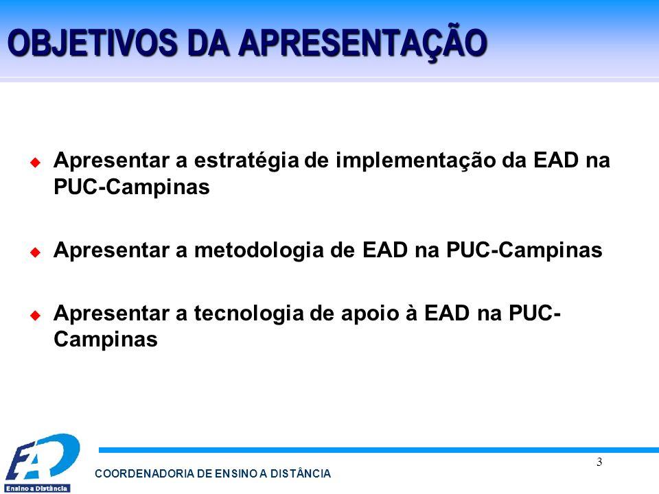 3 COORDENADORIA DE ENSINO A DISTÂNCIA OBJETIVOS DA APRESENTAÇÃO Apresentar a estratégia de implementação da EAD na PUC-Campinas Apresentar a metodolog
