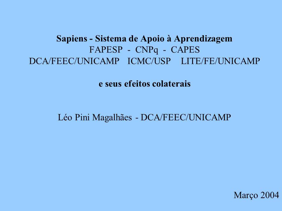 Projeto Sapiens (1999 a 2001) Atividade de Pesquisa interdisciplinar com o objetivo de explorar novas possibilidades pedagógicas do uso de tecnologias na aprendizagem.