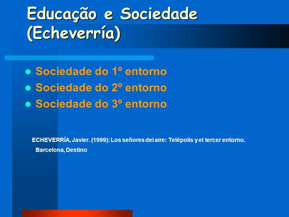 Educação e Sociedade (Echeverría) Sociedade do 1º entorno Sociedade do 2º entorno Sociedade do 3º entorno ECHEVERRÍA, Javier. (1999): Los señores del