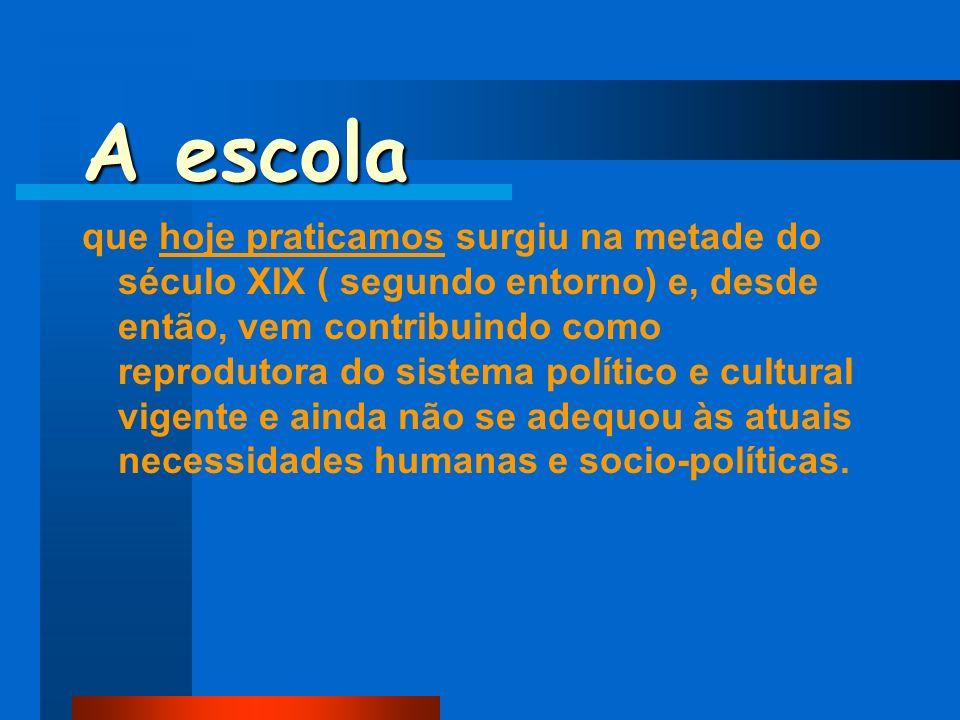 A escola que hoje praticamos surgiu na metade do século XIX ( segundo entorno) e, desde então, vem contribuindo como reprodutora do sistema político e