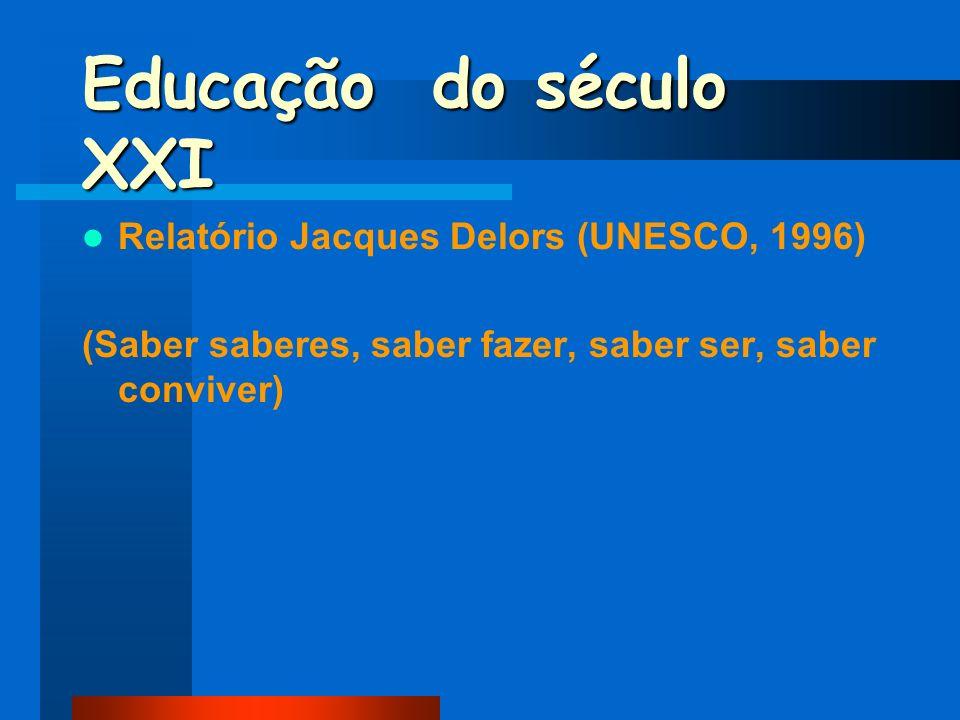 Educação do século XXI Relatório Jacques Delors (UNESCO, 1996) (Saber saberes, saber fazer, saber ser, saber conviver)